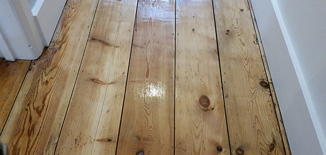floor finished with 3 coats of satin clear varnish