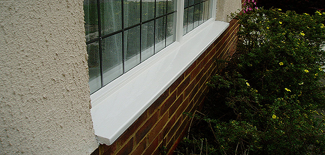 Window sill finished with 2 top coats of microporous gloss paint