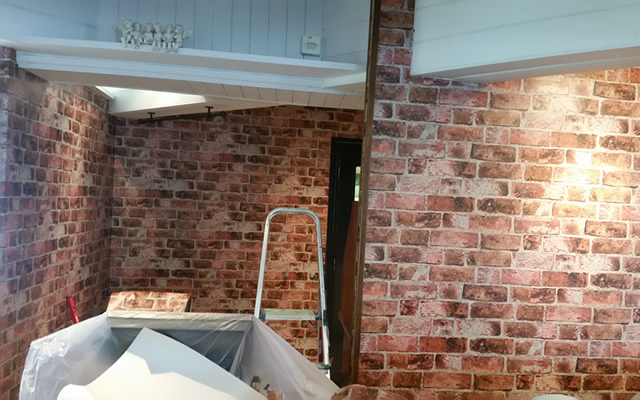 brickwork designer wallpaper to make a featured part of the restaurant area