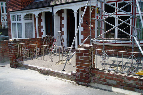 Wall and railings before works started