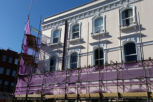 Exterior redecoration to office building in Guildford – work in progress