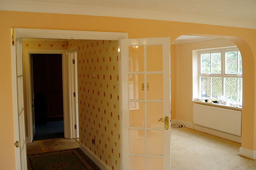 Interior redecoration in soft pastel vinyl matt and wall paper