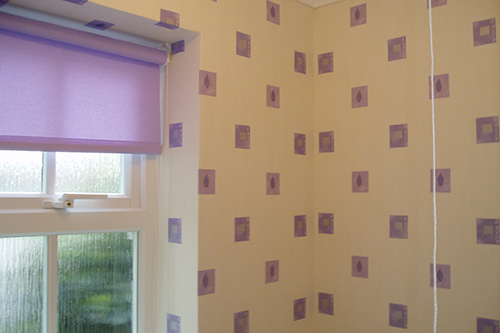 Interior redecoration with wall paper in bathroom
