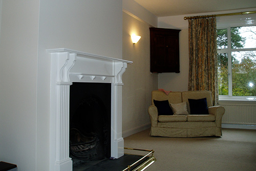 Lounge and fireplace decorated in designer paints