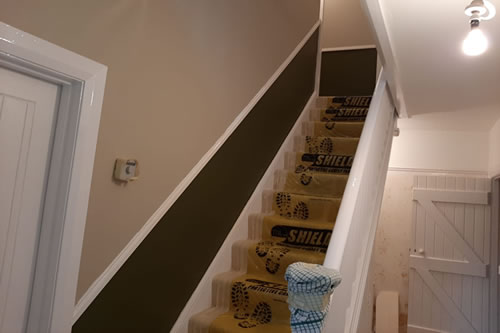 Designer paint finish, to staircase.